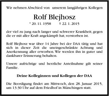 Zur Gedenkseite von Rolf Blejhosz