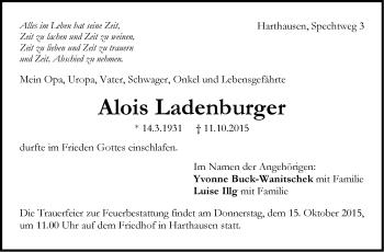 Zur Gedenkseite von Alois Ladenburger