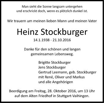 Zur Gedenkseite von Heinz Stockburger