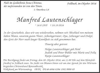 Zur Gedenkseite von Manfred Lautenschlager