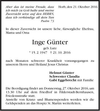 Zur Gedenkseite von Inge Günter