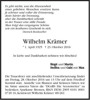 Zur Gedenkseite von Wilhelm Krämer