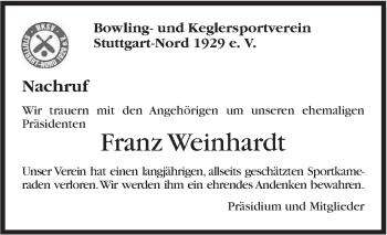 Zur Gedenkseite von Franz Weinhardt