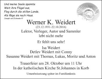 Zur Gedenkseite von Werner K. Weidert