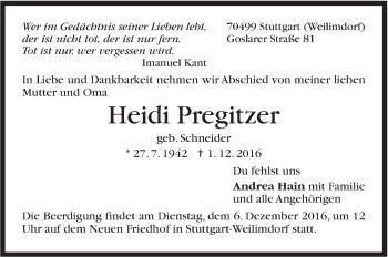 Zur Gedenkseite von Heidi Pregitzer