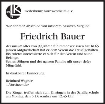 Zur Gedenkseite von Friedrich Bauer