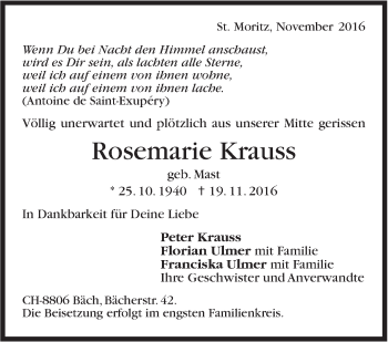 Zur Gedenkseite von Rosemarie Krauss
