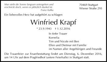 Zur Gedenkseite von Winfried Krapf