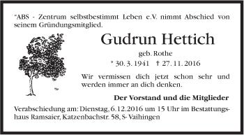 Zur Gedenkseite von Gudrun Hettich