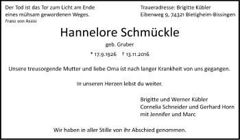 Zur Gedenkseite von Hannelore Schmückle