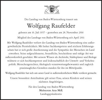 Zur Gedenkseite von Wolfgang Raufelder