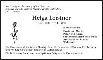 Zur Gedenkseite von Helga Leistner