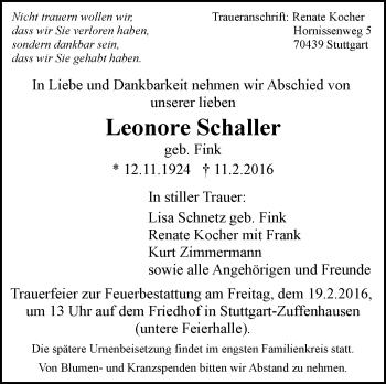 Zur Gedenkseite von Leonore Schauer