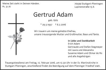 Zur Gedenkseite von Gertrud Adam