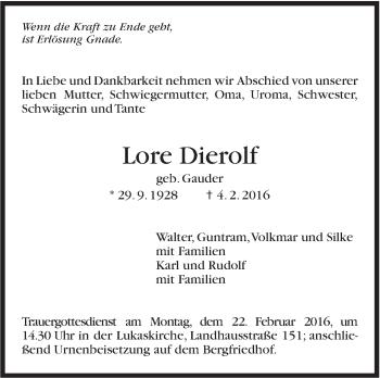 Zur Gedenkseite von Lore Dierolf