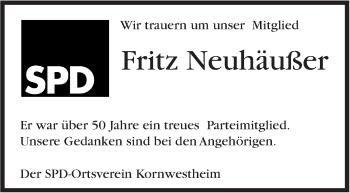 Zur Gedenkseite von Fritz Neuhäußer