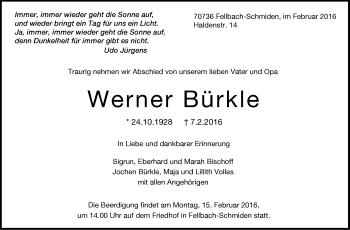 Zur Gedenkseite von Werner Bürkle
