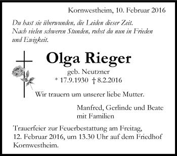 Zur Gedenkseite von Olga Rieger