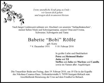 Zur Gedenkseite von Babette Rößle