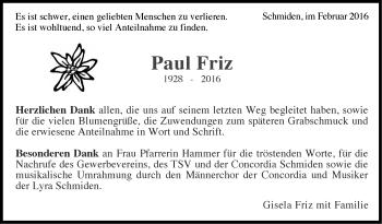 Zur Gedenkseite von Paul Friz