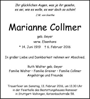 Zur Gedenkseite von Marianne Collmer