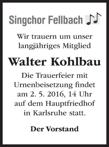 Zur Gedenkseite von Walter Kohlbau