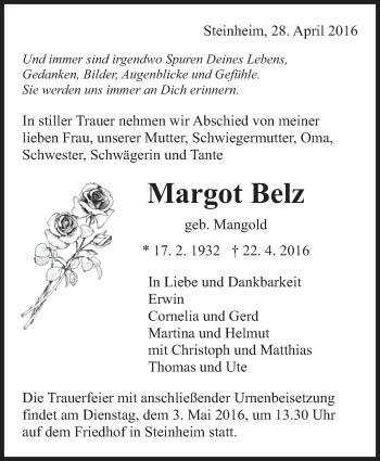 Zur Gedenkseite von Margot Belz