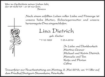 Zur Gedenkseite von Lisa Dietrich
