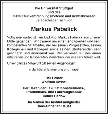 Zur Gedenkseite von Markus Pabelick