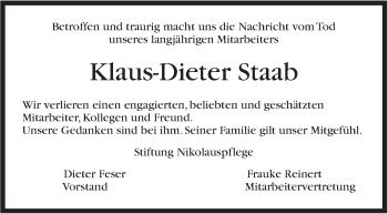 Zur Gedenkseite von Klaus-Dieter Staab