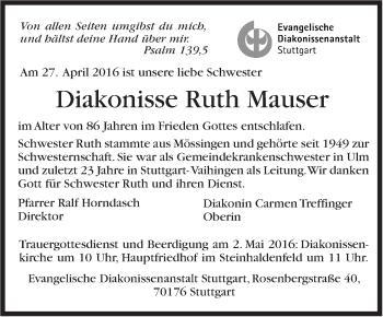 Zur Gedenkseite von Ruth Mauser