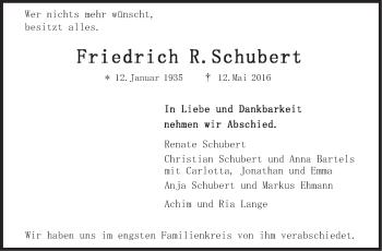 Zur Gedenkseite von Friedrich Schubert