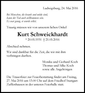 Zur Gedenkseite von Kurt Schweickhardt