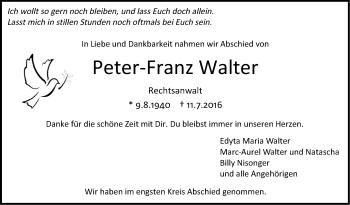 Zur Gedenkseite von Peter-Franz Walter