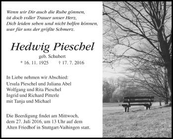 Zur Gedenkseite von Hedwig Pieschel