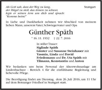 Zur Gedenkseite von Günther Späth