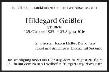 Zur Gedenkseite von Hildegard Geißler