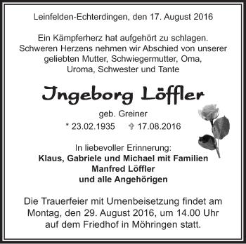 Zur Gedenkseite von Ingeborg Löffler
