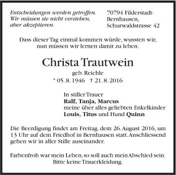 Zur Gedenkseite von Christa Trautwein