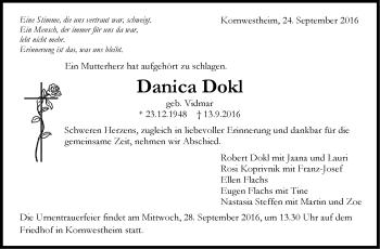 Zur Gedenkseite von Danica Dokl