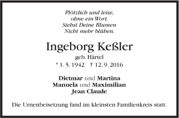 Zur Gedenkseite von Ingeborg Keßler