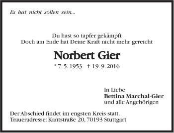 Zur Gedenkseite von Norbert Gier