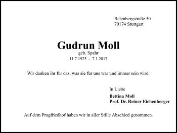Zur Gedenkseite von Gudrun Moll