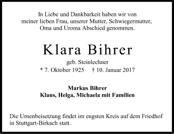 Zur Gedenkseite von Klara Bihrer