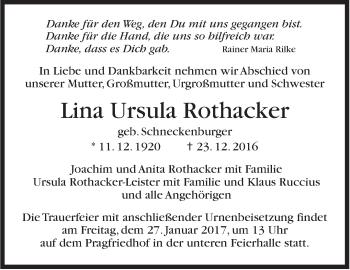 Zur Gedenkseite von Lina Ursula Rothacker