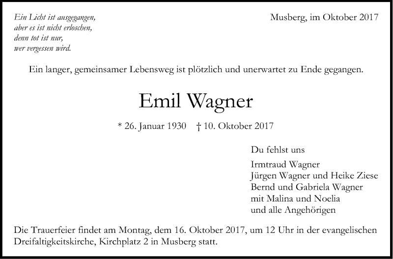 Traueranzeigen Von Emil Wagner Stuttgart Gedenkt De