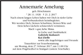 Zur Gedenkseite von Annemarie Amelung