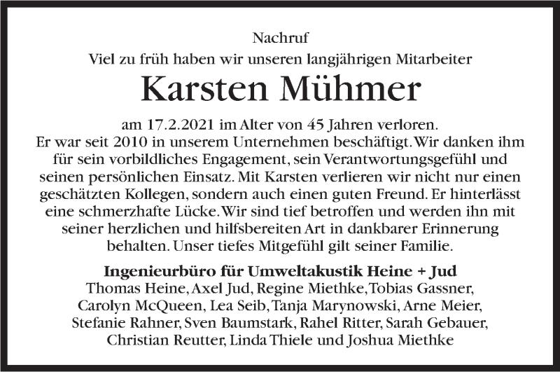 Traueranzeige für Karsten Mühmer vom 27.02.2021 aus Stuttgarter Zeitung / Stuttgarter Nachrichten